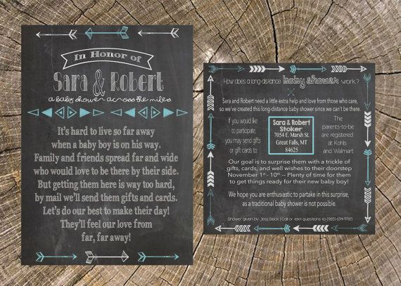 long distance baby shower boy chalkboard 5x7 invitation and 5x5 insert card