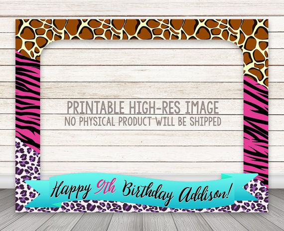 PRINTABLE Animal Print birthday party photo booth by HappyBarn