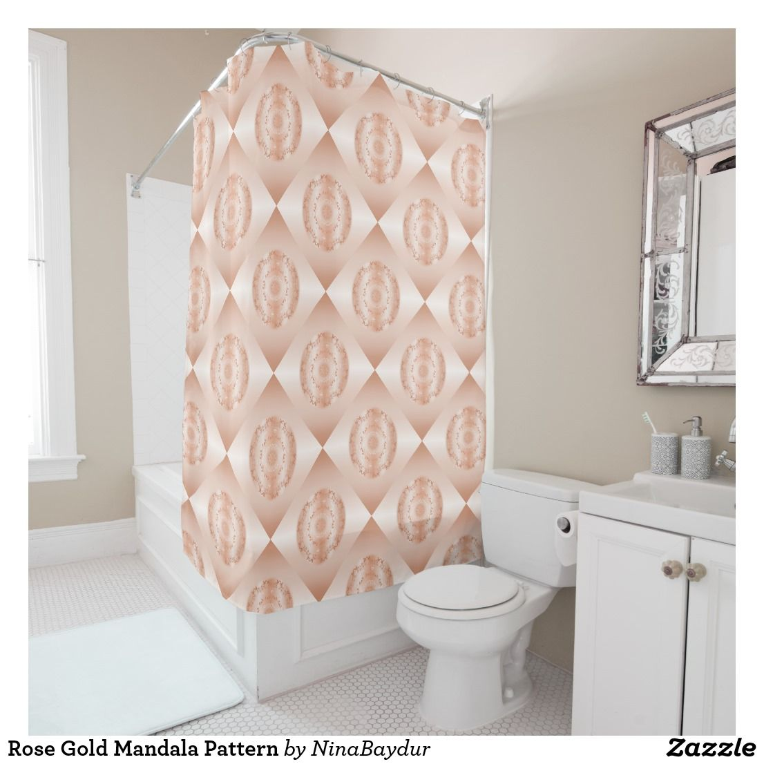rose gold mandala pattern geometric shower curtain rose gold  - rose gold mandala pattern geometric shower curtain rose gold decocopper