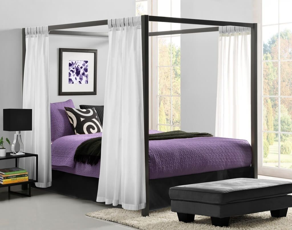 Fascinating Canopy Bed With White Curtains And Purple Bed Queen