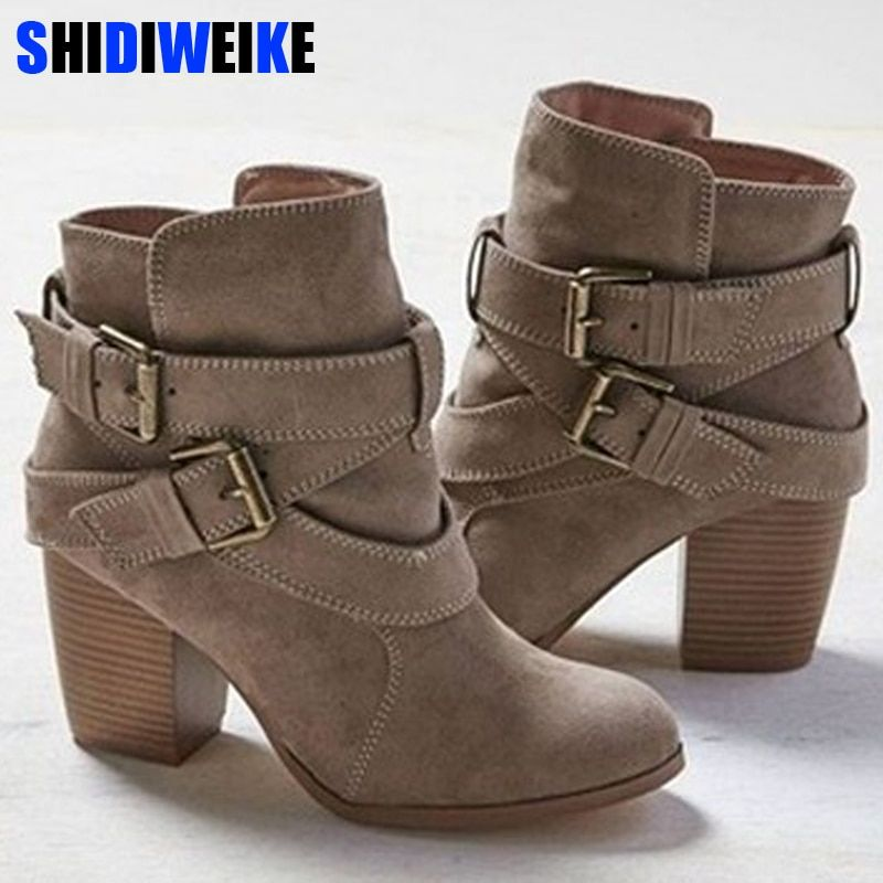 Size 35 43 Autumn Winter Women Boots Casual Ladies Shoes Martin Boots Suede Leather Ankle Boots High Heel Winter Ankle Boots High Heel Boots Ankle Womens Boots