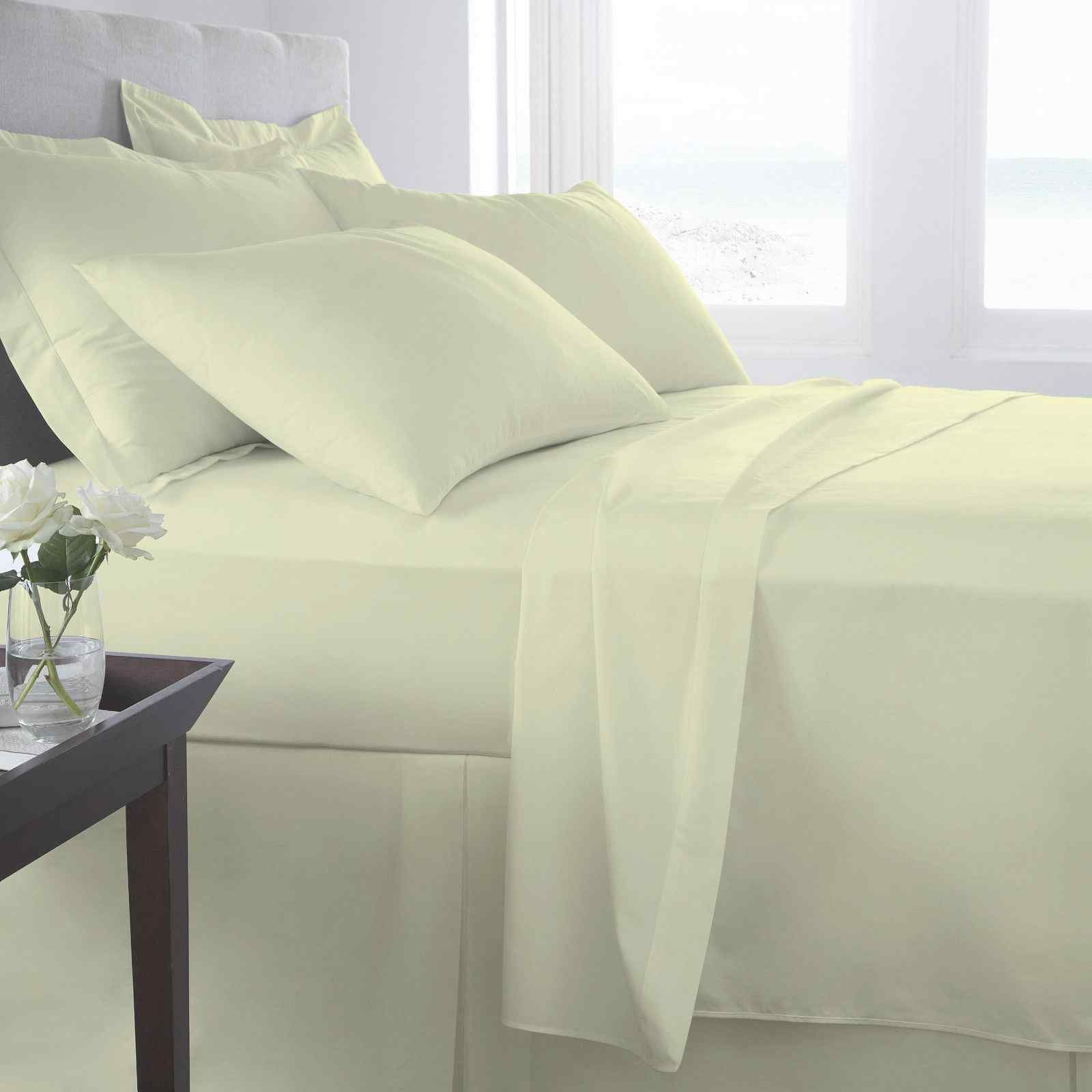 PLAIN FITTED SHEETS Linen Poly Cotton Bedding Bed Fitted Sheet Lime green,2 SIZE