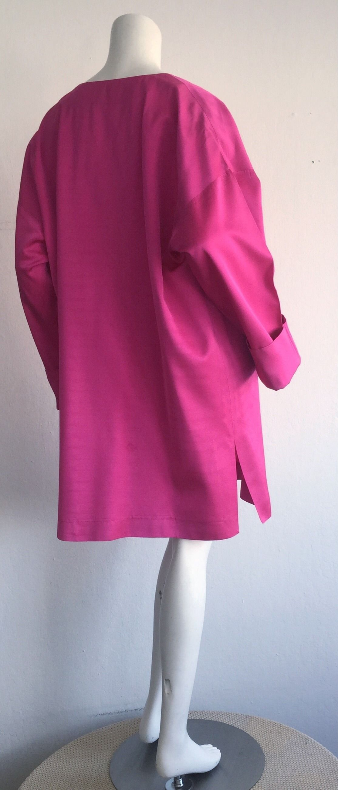 Incredible Vintage Jean Muir Hot Pink Fuchsia Silk Swing / Opera Jacket | From a collection of rare vintage jackets at https://www.1stdibs.com/fashion/clothing/jackets/