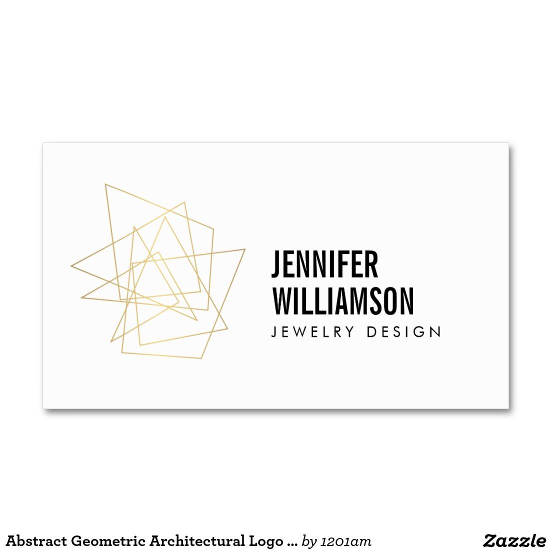 Abstract Geometric Architectural Logo White/Gold Business Card for ...