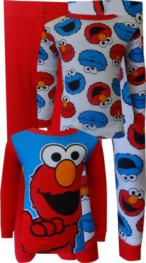 bd28cdacc WebUndies.com Sesame Street Elmo and Cookie Monster 4 Piece Cotton Toddler  Pajamas