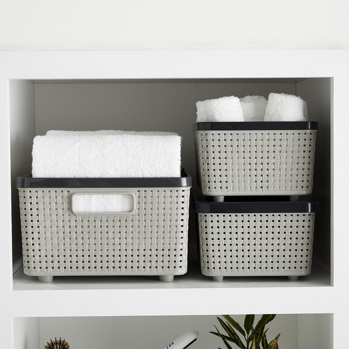 Plastic And Decorative Baskets Are Great For Storing Towels And Washcloths In Your Bathroom Linen Closet Storage Bins Fabric Storage Bins Woven Baskets Storage