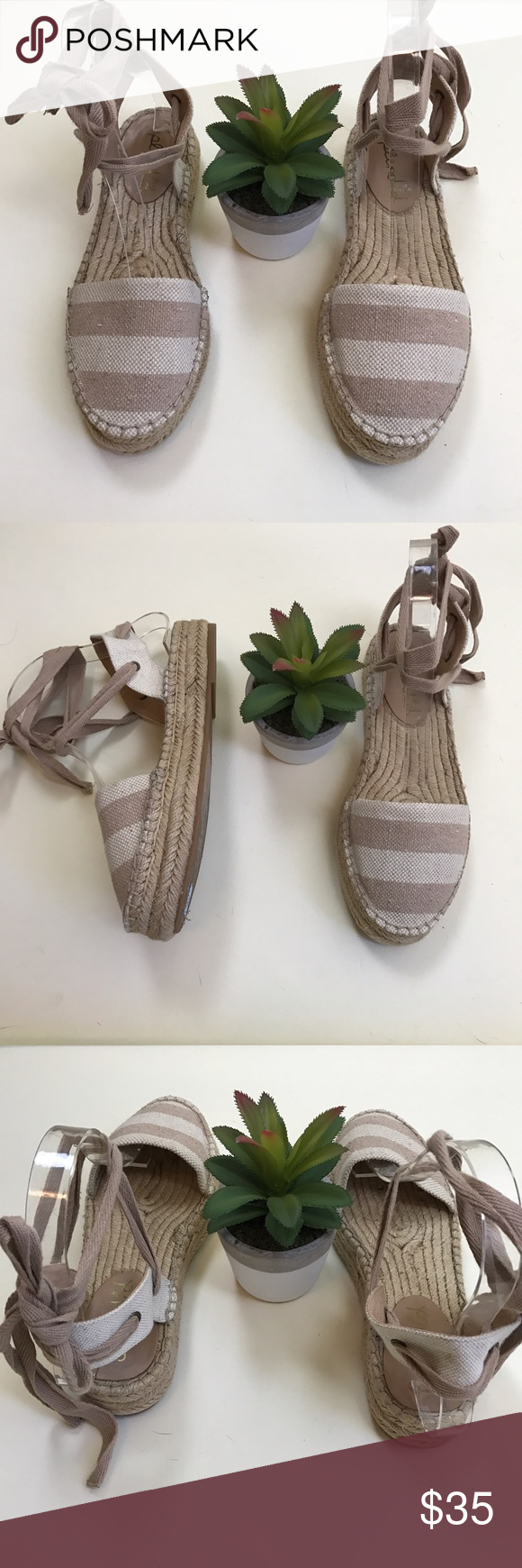 Splendid evaleigh striped canvas espadrille Sz 6 Normal wear signs. Please see photos to zoom in, Splendid Shoes Espadrilles
