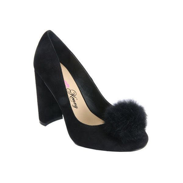 Womens Penny Loves Kenny Riz Pom Pom Pump 75  liked on Polyvore  featuring shoes       pumps       black       casual       heels       chunky heel shoes       black  chunky heel