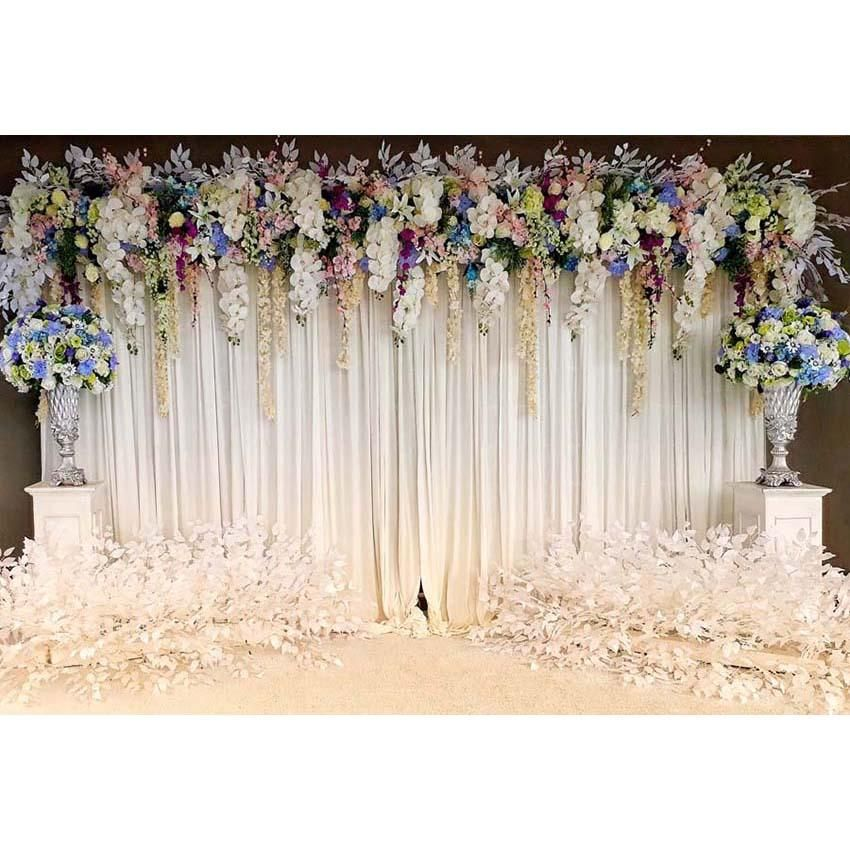 Wedding White Background: White Wedding Party Ceremony Curtain Floral Photography