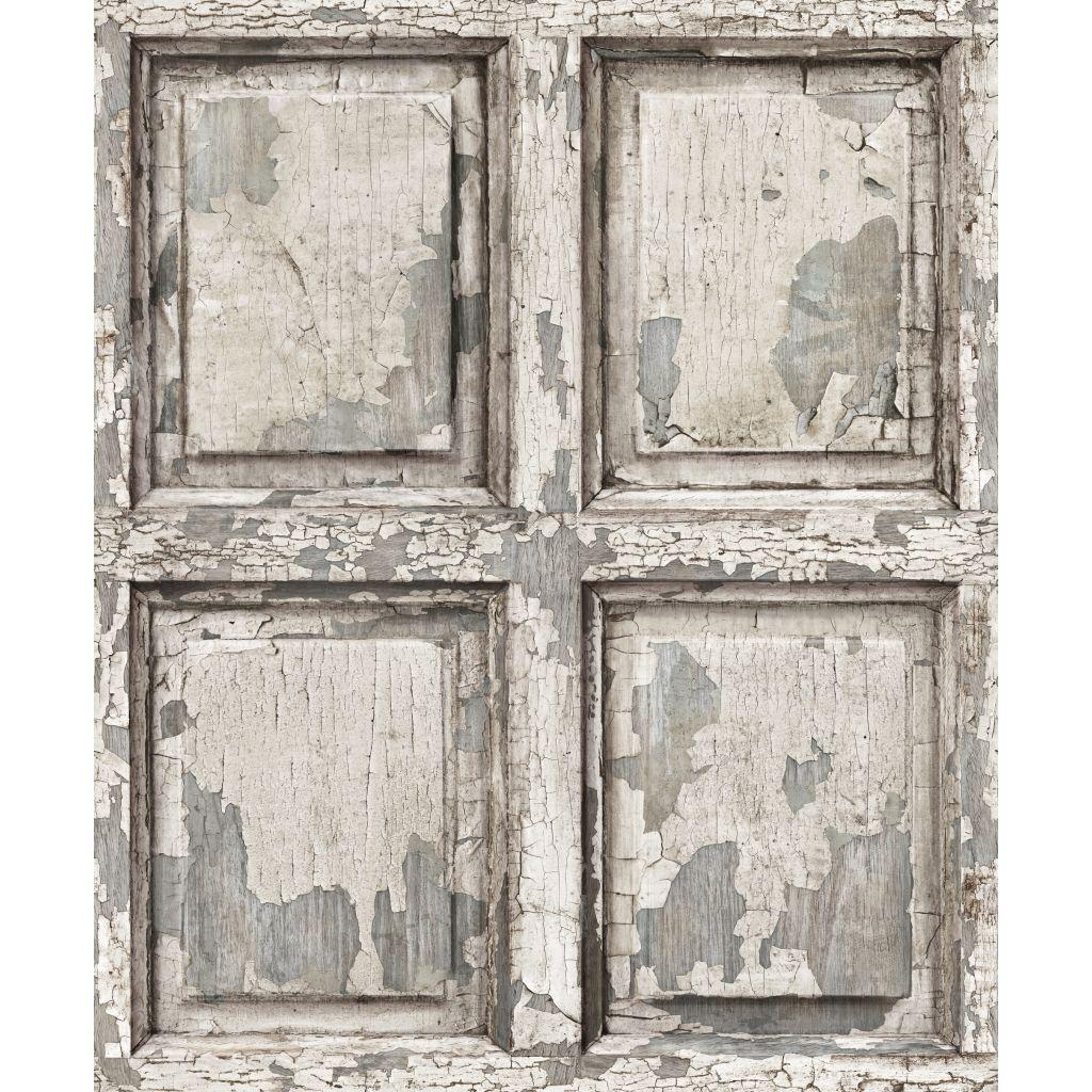 English antique wood paneling wallpaper Off White