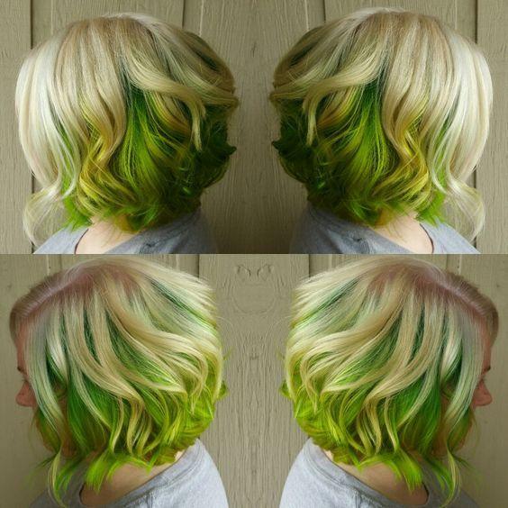 Neon Green Hair Dye Spring Apple 6 Electric Green Hair Chalks Fluo Green Hairchalk Green Hair Short Green Hair Hair Color