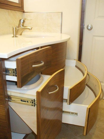 Contemporary Curved Vanity And Medicine Cabinet Vanities And
