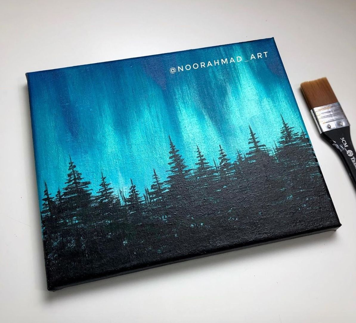 Acrylic Painting For Beginners Northern Lights Forest Northern Lights Painting Canvas Art Painting Art Painting Acrylic