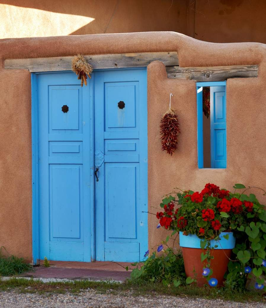 Taos New Mexico Usa In The Pueblo Indian Culture Painting Doors And Windows Blue Kept The Evil From Entering Large Art Prints Elegant Minimalism Door Color