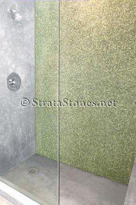Tile Bathroom Wall on Green Mini Pebble Tile Shower Wall Picture