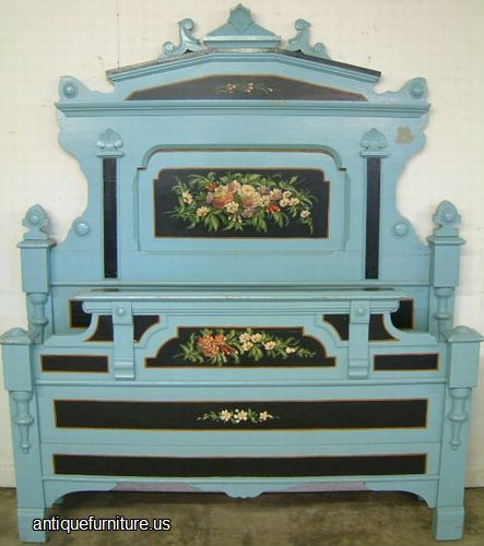 Antique Painted Cottage Furniture | Antique Paint Decorated Cottage Bed at Antique  Furniture.US - Antique Painted Cottage Furniture Antique Paint Decorated Cottage