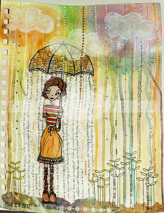 Birgit Kerr - her website has tons of art journal pages and tips.  http://birgitkerr.blogspot.com