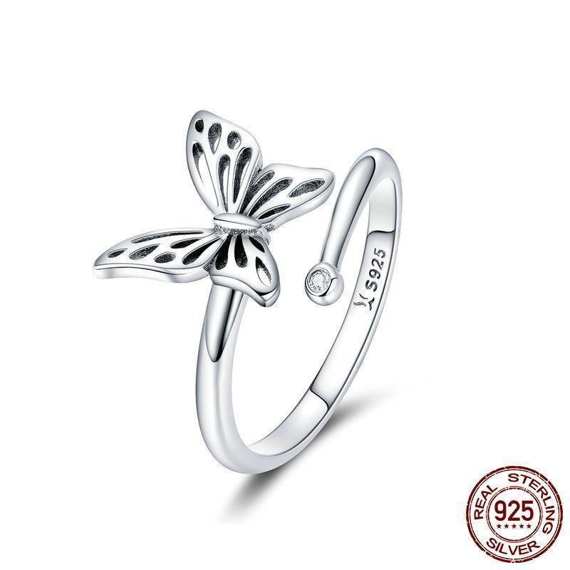 925 Sterling Silver Vintage Butterfly Adjustable Finger For Women