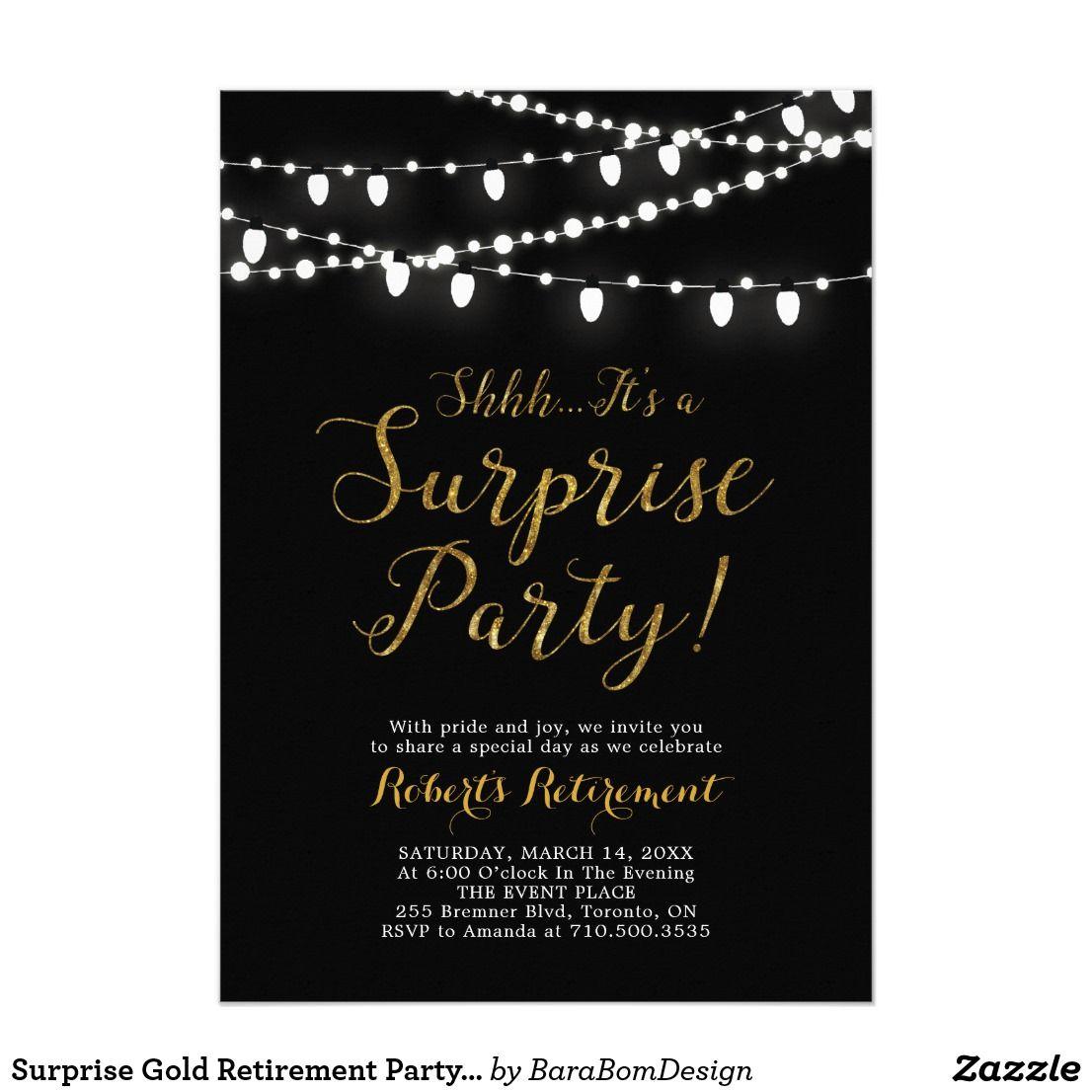 surprise gold retirement party invitation cards  zazzle