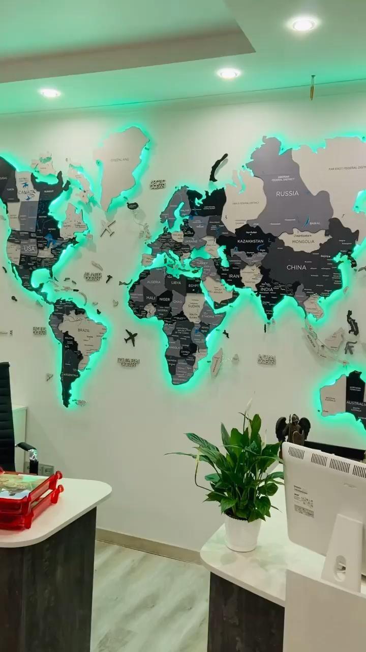 3D World Map Decor Wall decor wall art rustic deco
