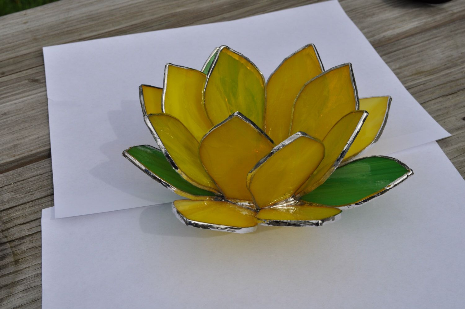 Tea Light Yellow Lotus Flower Votive Stained Glass Flowers Stained Glass Candle Holders Stained Glass Candles