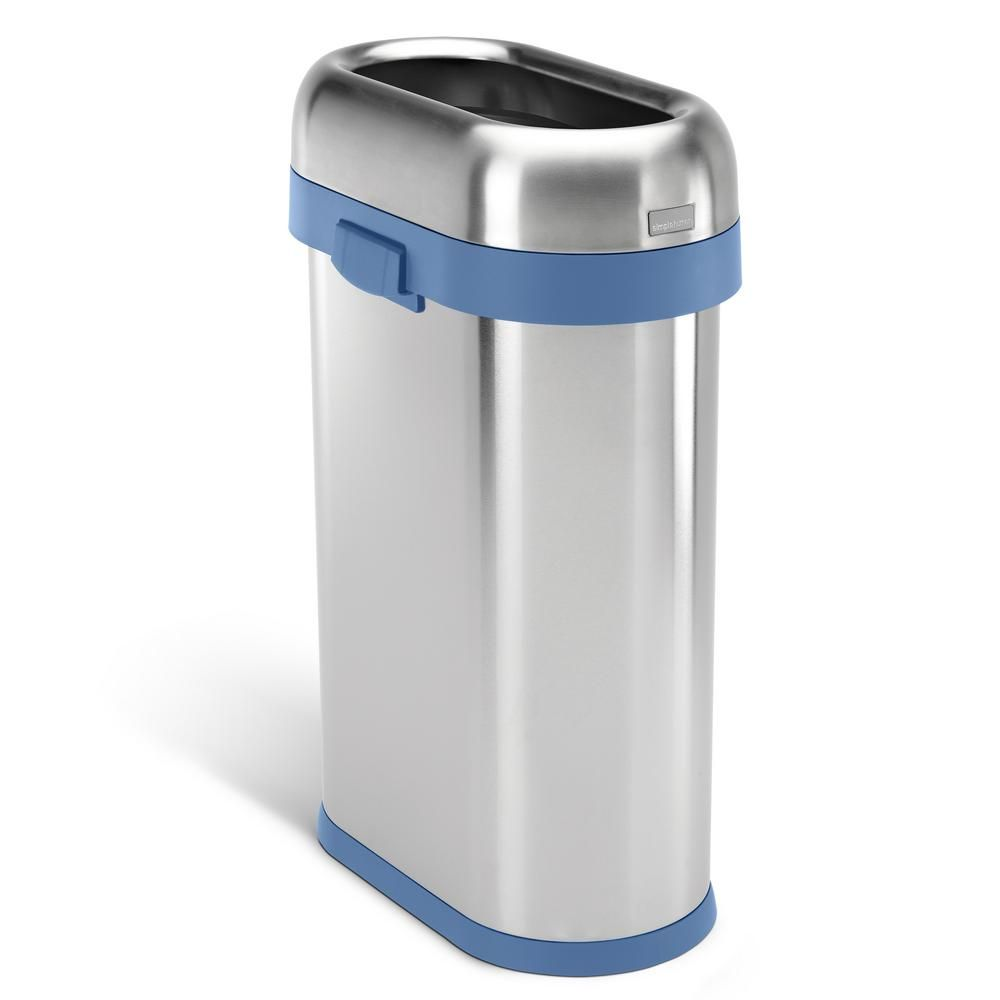 Simplehuman 50 Liter 13 Gal Heavy Gauge Brushed Stainless Steel Slim Open Top Commercial Trash Can With Blue Trim Cw2062 The Home Depot Simplehuman Brushed Stainless Steel Kitchen Trash Cans Simple human trash can 13 gallon