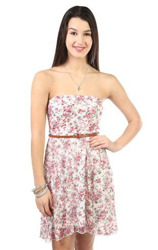 strapless floral printed lace high low dress with belted