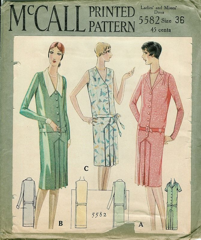 1928 McCall Printed Pattern Ladies\' and Misses\' Dress | 1920s ...