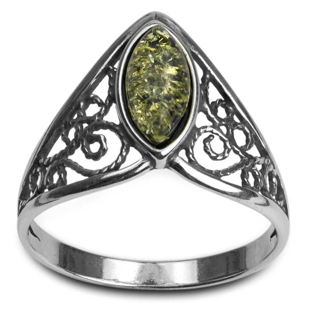 Green Amber Sterling Silver Celtic Marquise Cut Ring