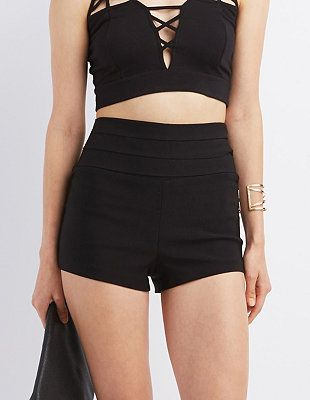 Pleated High-Rise Shorts: Charlotte Russe