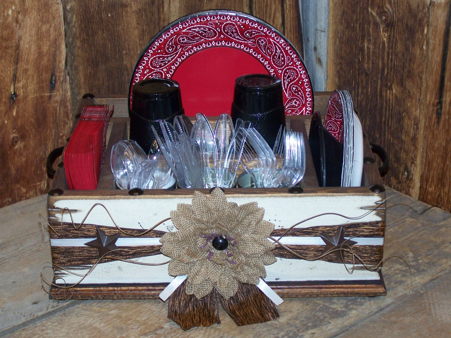 Rustic western decor themed party tableware utensil holder caddy organizer for napkins paper plates utensils and more. & Rustic western decor themed party tableware utensil holder caddy ...