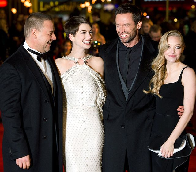 Russell Crowe, Anne Hathaway, Hugh Jackman and Amanda Seyfried buddied up at the Les Miserable premiere in London Dec. 5.