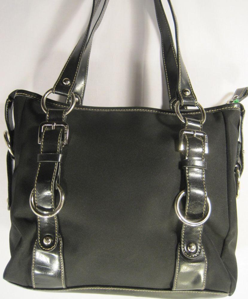 e4aceb1e3ede Franco Sarto Women Handbag Nylon Faux Leather Trim Black Stainless Steel  Buckles  FrancoSarto  ShoulderBag