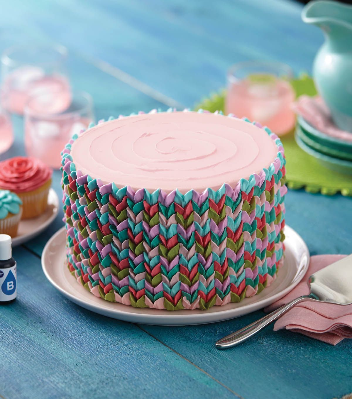 Knitting Cake Decorations : Learn how to make this beautiful and bright cake from