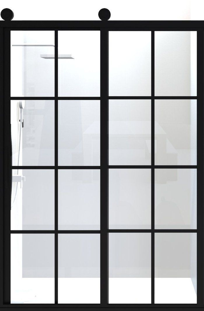 Gridscape Gs1 Fixed Shower Screen Panel In Black With