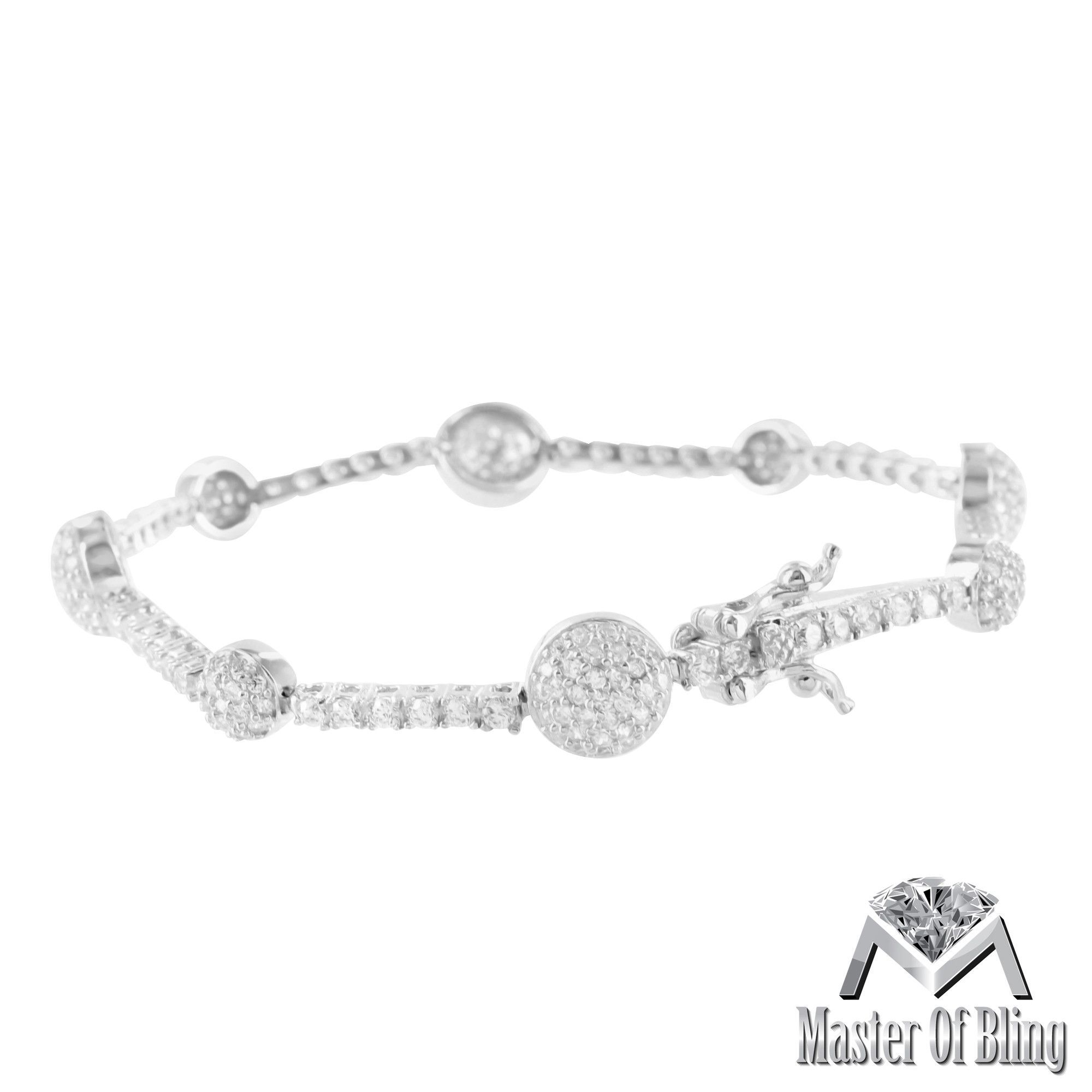 Ladies white gold finish silver lab diamond cluster bracelet