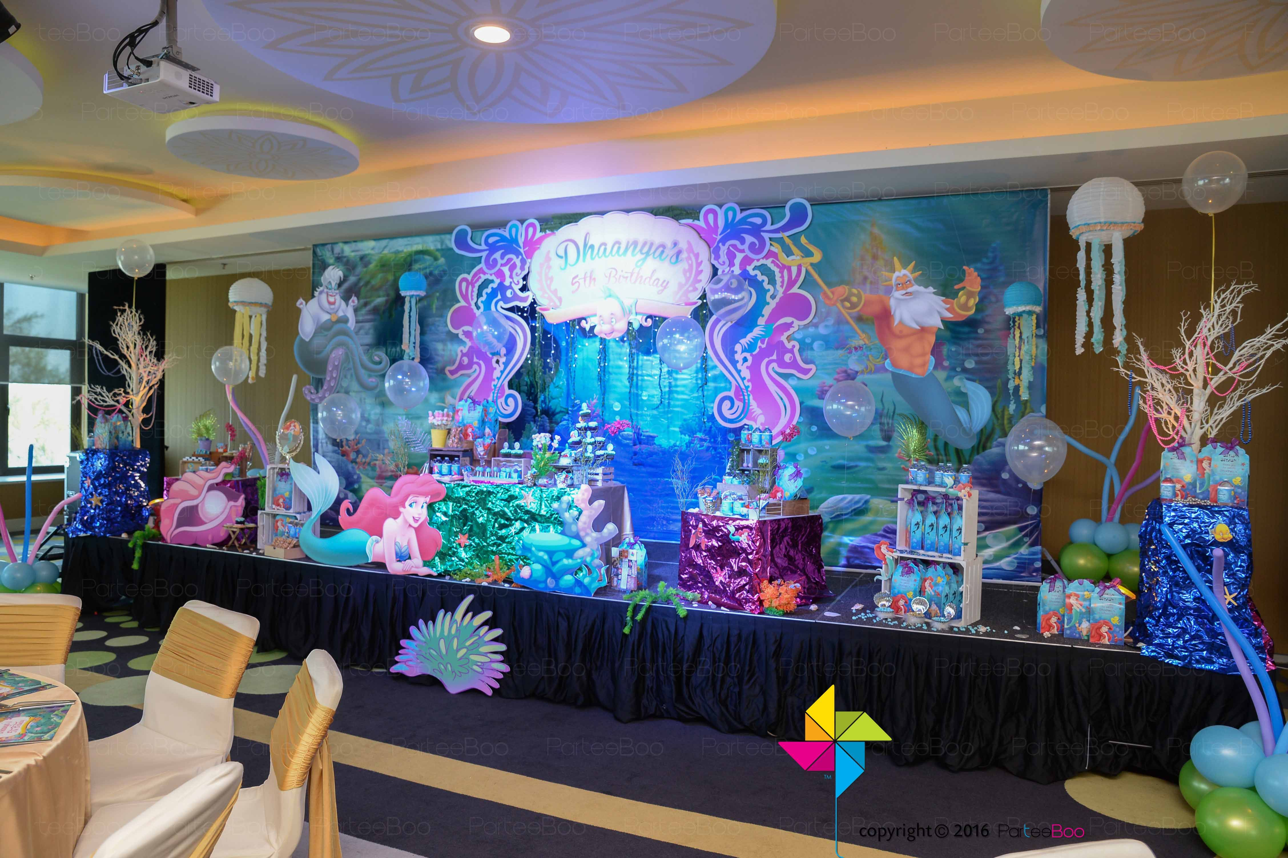 An Ariel Little Mermaid Themed 3d Stage Decor Backdrop And Candy Buffet For A Littl Mermaid Party Decorations Little Mermaid Birthday Little Mermaid Parties