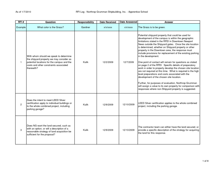 Construction Rfi Template 2 Templates Construction This Or That Questions
