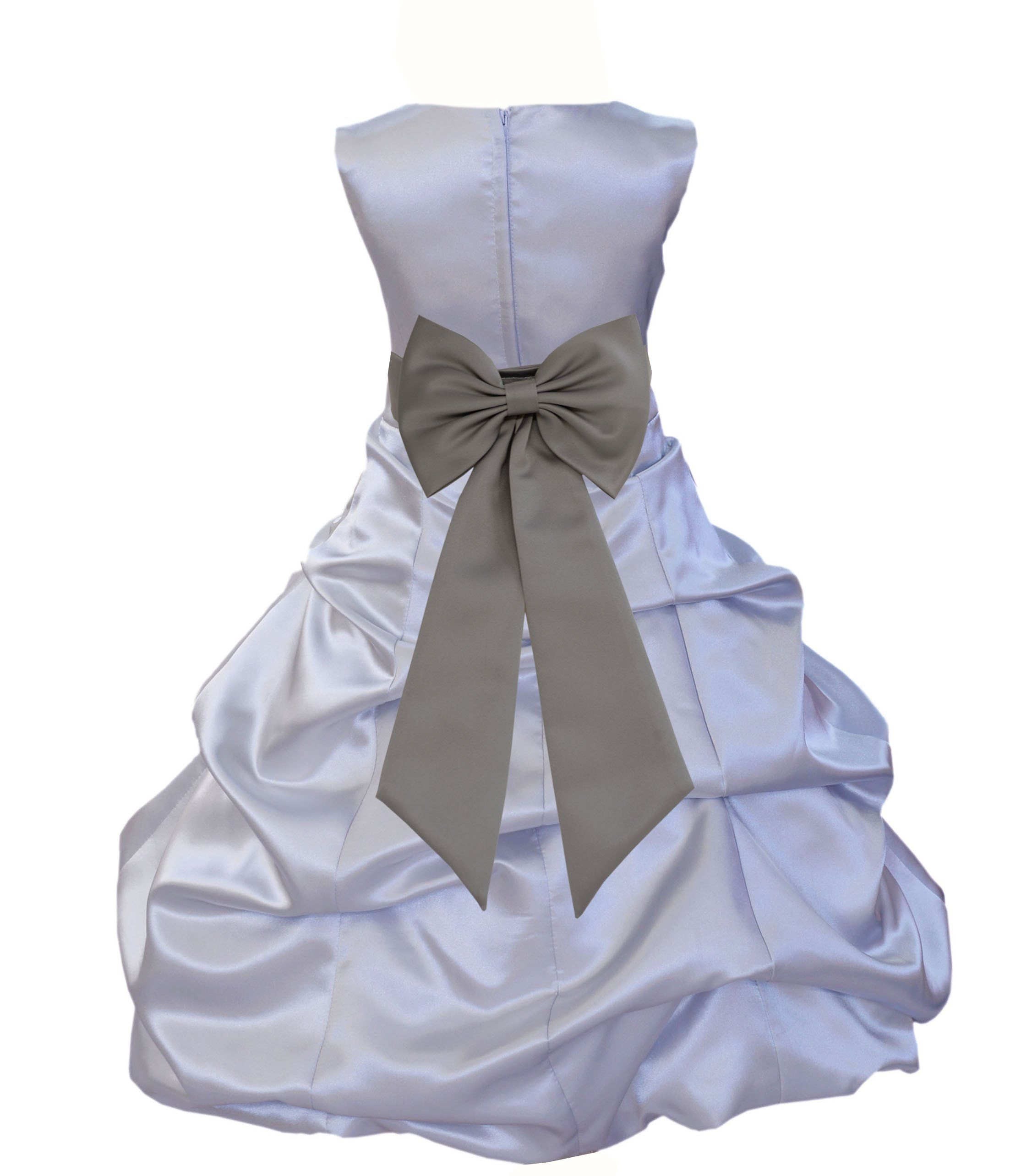Silver satin pick up beauty pageant bridesmaid special occasions