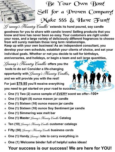 Discover your passion! If you love what you promote, and have fun doing it, your customers will too! #Candle lovers consider joining the family of consultants at #GrannysKountryCandles Contact Granny's today. http://www.fb.com/grannyskountrycandlesllc http://virtualnetwork.yourvirtualservicegroup.com/2011/06/wendy-tanner-grannys-kountry-candles-llc/