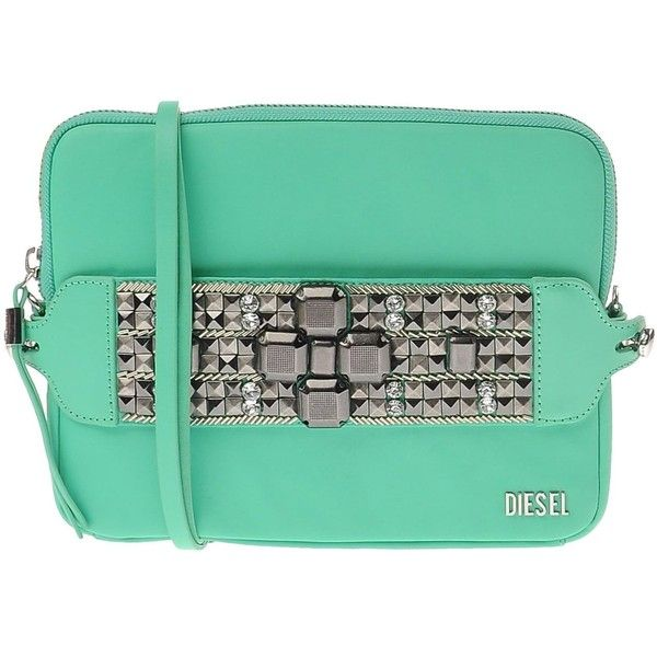 Diesel Handbag ($230) ❤ liked on Polyvore featuring bags, handbags, light green, green purse, animal handbags, rhinestone studded handbags, zip purse and zipper bag