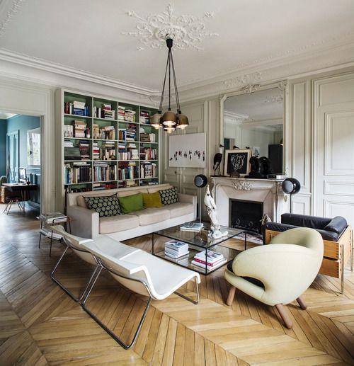 Vintage Paris Living Room: Chevron Floors, Big Bookcase, Mostly WHITE Of Course