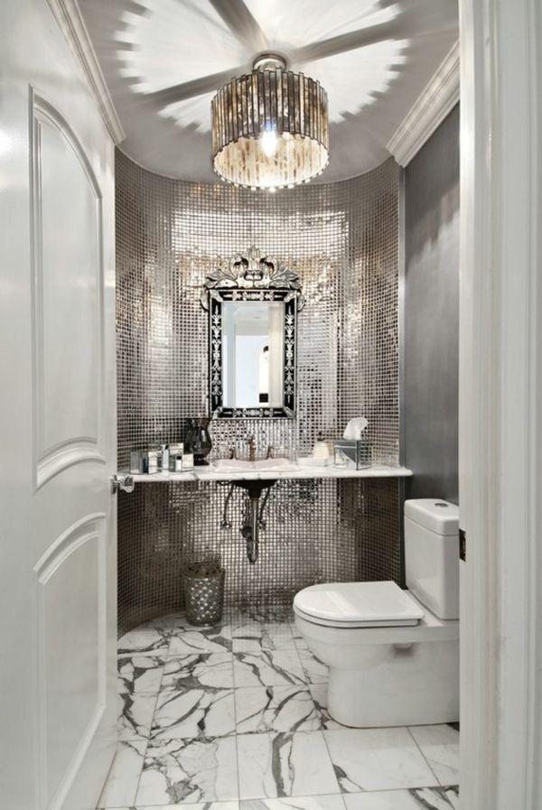 kleines bad gestalten badfliesen ideen mosaikfliesen silber - mosaik ideen bad