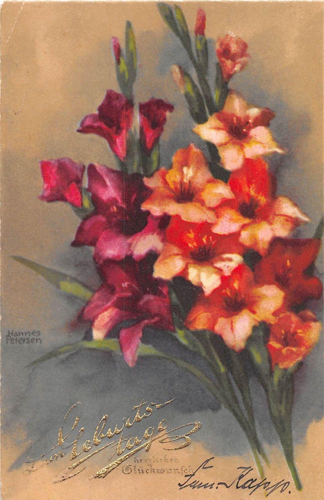 AK Hannes Petersen Künstlerkarte Blumen Gladiolen Postkarte 4440 ZUM Geburtstage | eBay