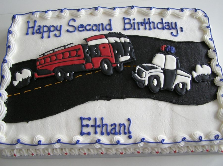 Police Car Cakes Pictures Police Car And Fire Truck Birthday