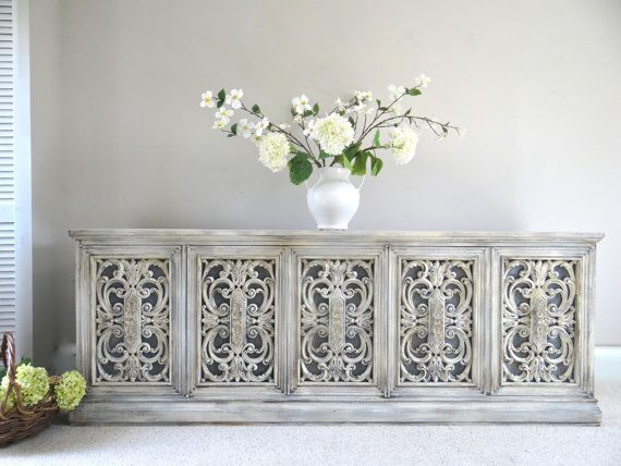RESERVED - Vintage Hand Painted French Provincial Cottage Chic Shabby  Antique / Weathered Grey White Buffet / Console Cabinet / Sideboard - RESERVED - Vintage Hand Painted French Provincial Cottage Chic