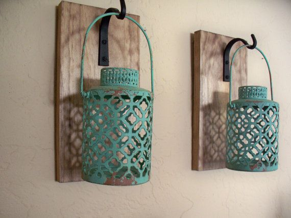 Rustic Turquoise Lantern Pair 2 Wall Decor Bedroom Sconces Housewarming Gift Wrought Iron Hook Wood Boards