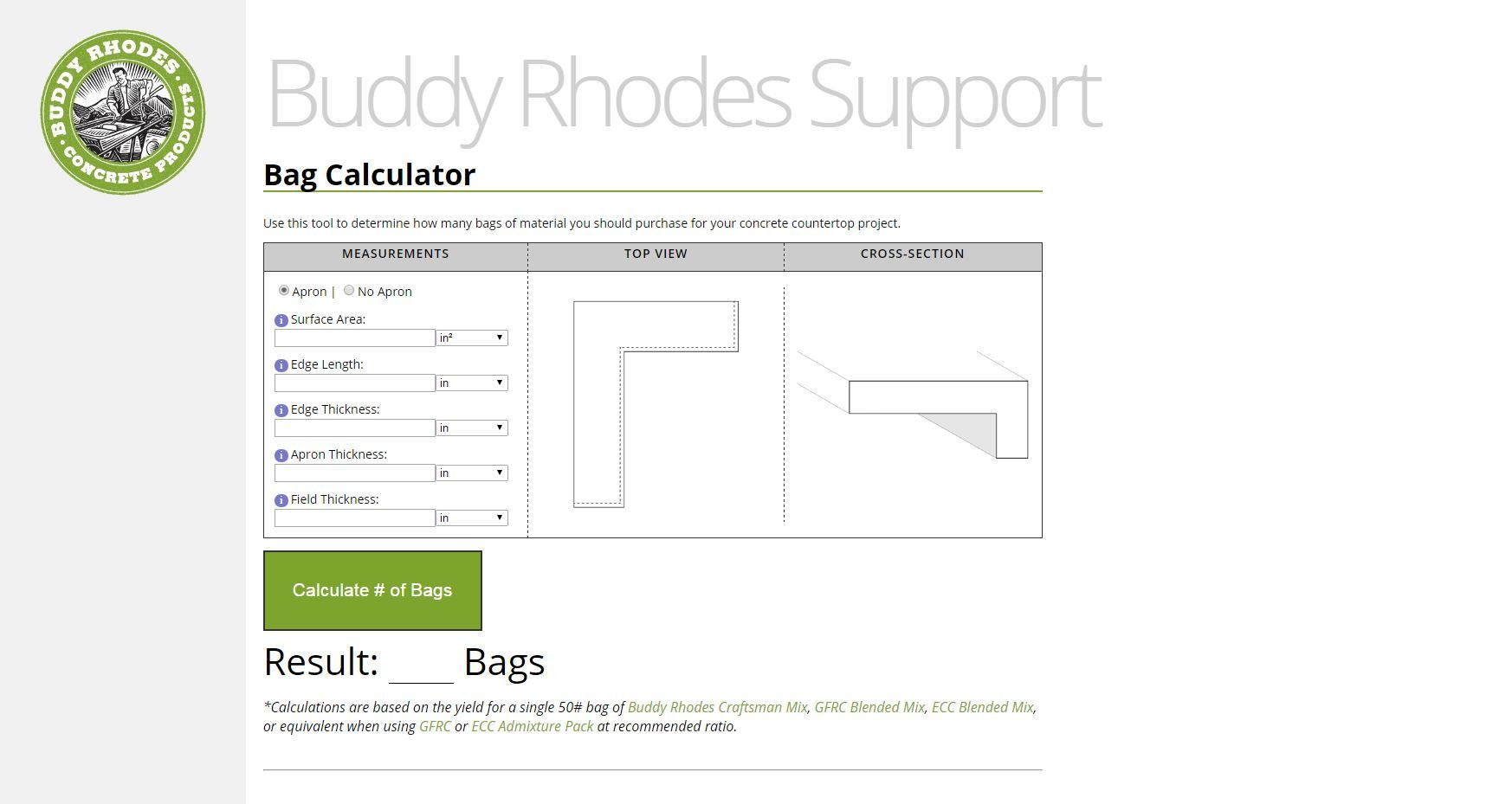 Buddy Rhodes Concrete Products Is Proud To Introduce Our New Concrete Bag Calculator For Craftsman Mix Ecc Blended Concrete Bags Concrete Calculator Concrete