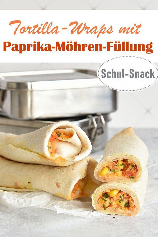 Tortilla-Wraps. Mit Paprika-Möhren-Füllung.