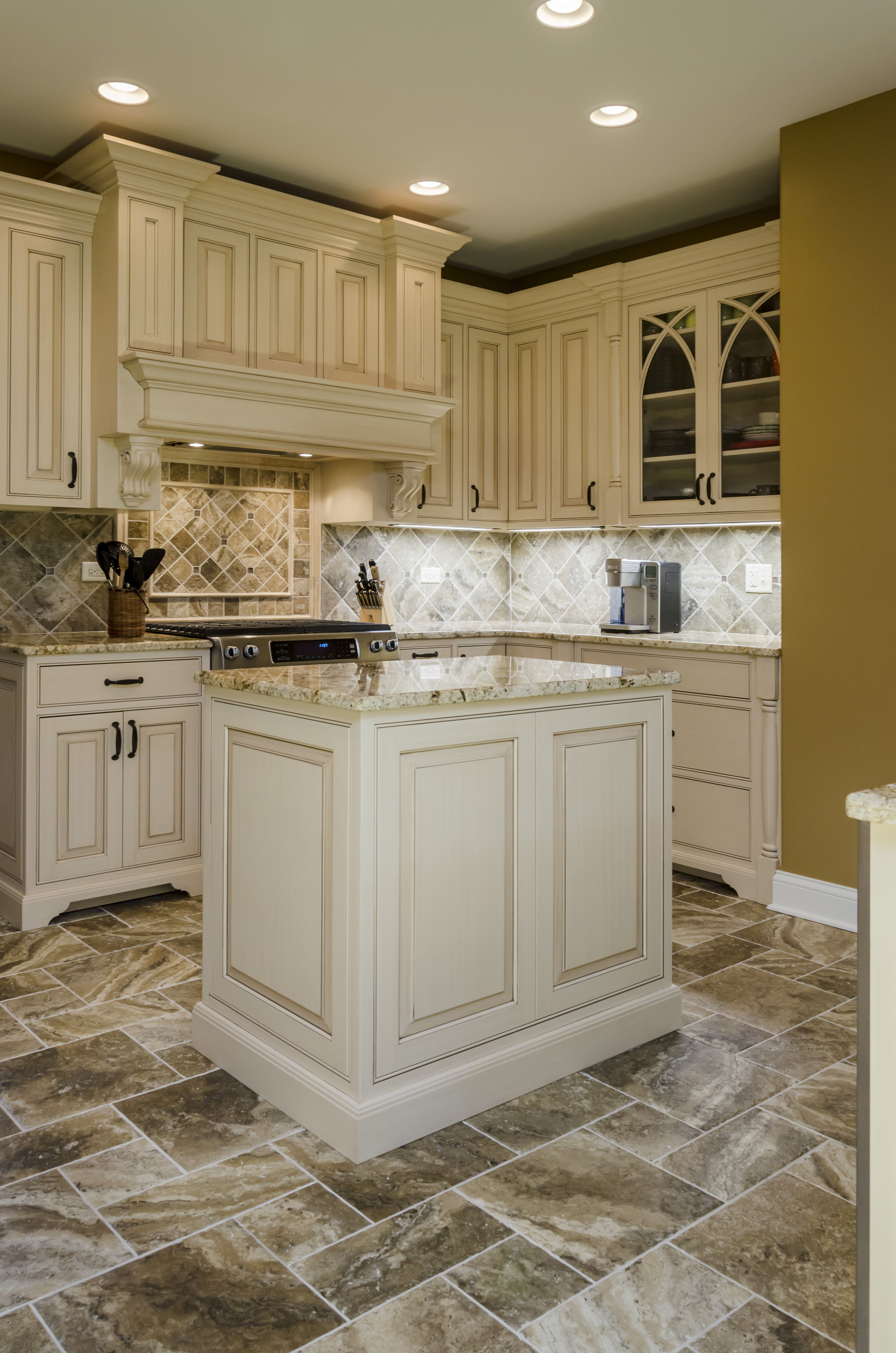 Traditional style kitchen featuring fully custom cabinets Details